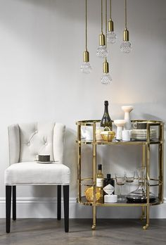 drinks trolleys, gold, wheels, houseology