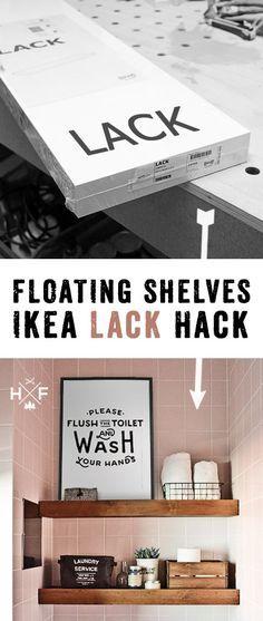 Ikea LACK floating shelf hack   Ikea LACK Wandregal hack Ikea hack MOPPE & BEKVÄM nightstand hack   Detaillierte Anleitung in deutsch, wie ein einfaches LACK Regal in ein floating shelf in Vollholz Optik verwandelt werden kann. #diy #ikea #Pinoftheday