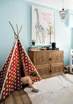 Cool teepee in a children's room.