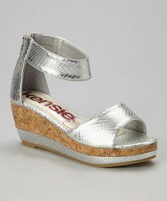 Look at this #zulilyfind! Silver Snakeskin Wedge Sandal by kensiegirl #zulilyfinds