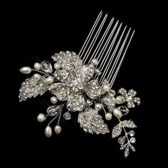 Irina Antique Silver Freshwater Pearl, Swarovski Crystal and Rhinestone Flower and Leaf Comb Wedding Bridal Special Occasion >>> You can find out more details at the link of the image.