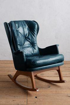 Slide View: 1: Premium Leather Finn Rocking Chair