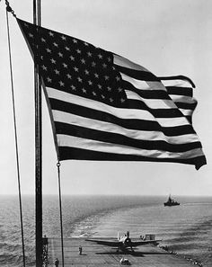 American Flag on the Deck of a Battleship