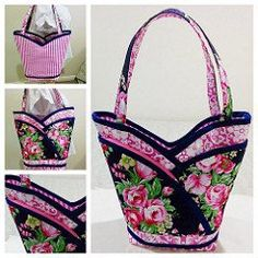 """Petal Pockets"" Purse, Tote & Cosmetic Bag Sewing Pattern"