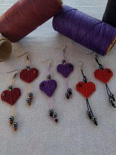 Macrame earrings, heart earrings, cute earrings, boho chic earrings, macrame jewelry, boho style jewelry