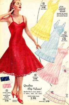 catalog, 1957; slips petticoats 50s lingerie color illustration print ad vintage fashion