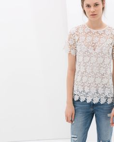 GUIPURE LACE TOP from Zara