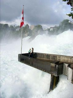 """Rhine Falls, Switzerland. These impressive falls are on the Upper Rhine in northern Switzerland. You can view them from platforms on both sides of the falls. Tourists have been awed by the Rhine Falls for centuries. In the 19th century, the poet Eduard Mörike wrote of the falls:""""Hold your heart, oh traveller, tightly in mighty hands! Mine nearly descended, shivering with pleasure. Restless thundering masses thrown upon masses, ear and eye, whither can they save themselves in such an uproar?"""""""