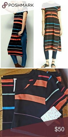 S FREE PEOPLE MAXI TOP *NWT black striped free people maxi top *size small *long slits on both sides *perfect top as a swim cover up or over leggings *comes from a smoke-FREE home Free People Tops Tees - Short Sleeve