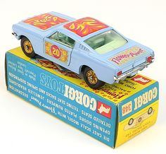 """Corgi Toys 348 Psychedelic Mustang rare Variation with """"Psychedelic"""" boot lid decal"""