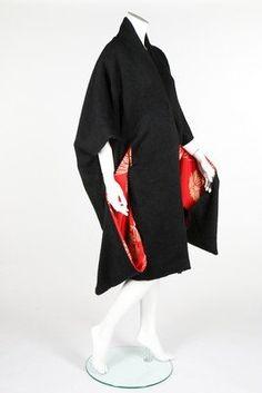 A Yohji Yamamoto black mohair kimono coat, Autumn-Winter, 1994