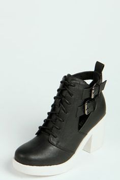 Holly Contrast Sole Cut Work Ankle Boots at boohoo.com