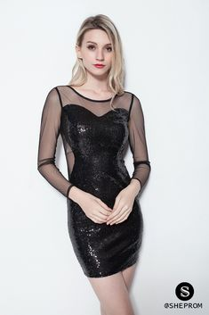 Only $63, Little Black Sequins Sheer Sleeves Bodycon Dress #DK114 at #SheProm. SheProm is an online store with thousands of dresses, range from Party,Club,Black,Little Black Dresses,Bodycon Dresses,Sparkly Dresses,Sequin Dresses,Short Dresses,Long Sleeve Dresses and so on. Not only selling formal dresses, more and more trendy dress styles will be updated daily to our store. With low price and high quality guaranteed, you will definitely like shopping from us.