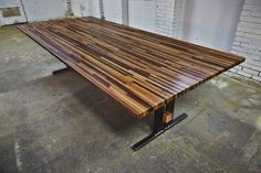 Colorful wood dining room table