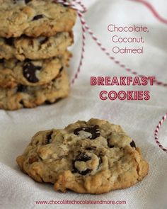 Chocolate Coconut Oatmeal Breakfast Cookies with Peanut Butter and pecans-the perfect way to start off your day! Cookies for breakfast? Oatmeal Coconut Cookies, Oatmeal Breakfast Cookies, What's For Breakfast, Cookie Recipes, Dessert Recipes, Biscuits, Honey Buns, Just Desserts, Sweet Recipes