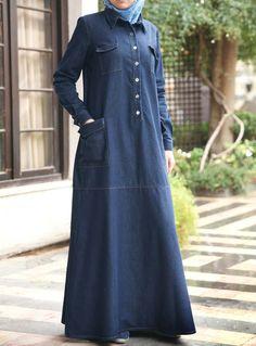 SHUKR USA | Denim Pocketed Dress