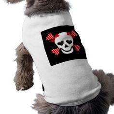 Skull & Cross Bones in Red and White with Bows Dog Tshirt