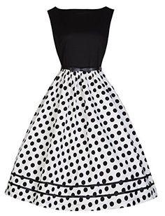 Lindy Bop 'Audrey' Hepburn Vintage 50's Monochrome Polka Dot Swing Dress (5XL, Mono BW)