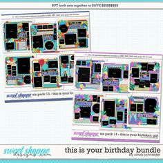 Cindy's Layered Templates - This is Your Birthday Bundle by Cindy Schneider It's Your Birthday, Girl Birthday, Drop Shadow, Scrapbook Templates, Six Packs, Digital Scrapbooking, Create Your Own, Photo Wall, Memories