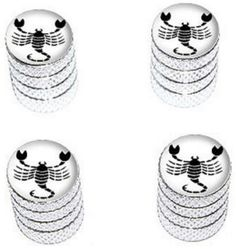 "Amazon.com : (4 Count) Cool and Custom ""Diamond Etching Scorpio Zodiac Symbol Top with Easy Grip Texture"" Tire Wheel Rim Air Valve Stem Dust Cap Seal Made of Genuine Anodized Aluminum Metal {Frost Honda Silver and Black Colors - Hard Metal Internal Threads for Easy Application - Rust Proof - Fits For Most Cars, Trucks, SUV, RV, ATV, UTV, Motorcycle, Bicycles} : Sports & Outdoors"