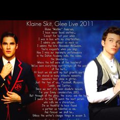 Kurt's poem to Blaine during the last night of the glee 2011 tour.