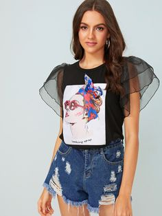 To find out about the Figure Graphic Ruffle Sleeve Tee at SHEIN, part of our latest T-Shirts ready to shop online today! Latest T Shirt, Casual, Ruffle Sleeve, Pulls, Fashion News, Fashion Fashion, Vintage Fashion, Fashion Design, Types Of Sleeves