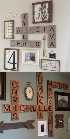 Family Wood Scrabble Wall Art. Click on image to see more DIY ideas and crafts you can do for your home.