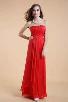 2014 Simple Style Sweetheart A Line Long Chiffon Prom Dress Ruffled Bodice #3504