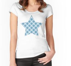 Trendy Light Blue Christmas tartan pattern Star Women's Fitted Scoop T-Shirt by #PLdesign #Christmas #Tartan #ChristmasGift