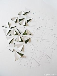 I create abstract paper reliefs confronting sharp crystallic microstructure of paper folds with a bi Origami Wall Art, Origami Paper Art, Diy Paper, Paper Crafts, Kirigami, Abstract Paper, Paper Wall Art, Paper Folding, Fabric Manipulation