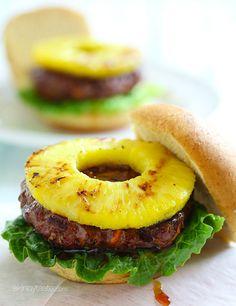 Grilled Hawaiian Teriyaki Burger!!! Wow this looks perfect for summer!! |skinnytaste.com
