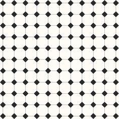 Victorian Floor Tiles. Mönster Harrogate, vit och svart klinker.