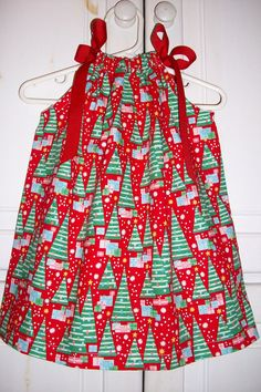 Christmas Pillowcase Dress Snowy Trees by lilsweetieboutique
