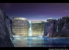 China is building an underground luxury hotel on the side of an abandoned quarry. The 380-room resort will have 16 levels underground and 3 above ground. It also will offer guests spa services, a sports facility and an underwater restaurant. Pretty Cool!