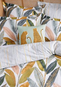 Hikkaduwa's delicious tropical tones are the next big thing from Scion. Botanical vibes are sweeping our home decor this season. Named after one of Sri Lanka's palm-fringed beaches, painterly banana leaves overlap on this colourful bedding set. Choose from a 100% cotton duvet cover set in single, double, king or super king sizes, with a fine striped reverse and finished with a concealed transparent button opening. 100 Cotton Duvet Covers, Duvet Cover Sets, Botanical Bedroom, The Next Big Thing, Bedroom Themes, Tropical, Color, Inspiration, Design