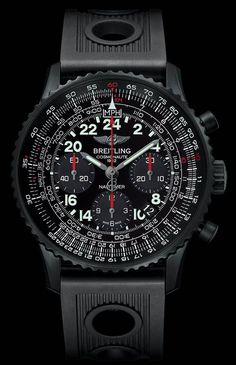 Breitling is launching a new, contemporary version of its historical Navitimer model. This time, Breitling Navitimer Cosmonaute is issued in a special all-black. Men's Watches, Breitling Watches, Dream Watches, Sport Watches, Luxury Watches, Cool Watches, Fashion Watches, Watches For Men, Black Watches