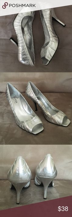 """Guess 7.5M silver leather peep toe pumps Sexy, fun, and trendy Guess 7.5M silver leather peep toe pumps with 4"""" stiletto style heel. Guess by Marciano Shoes Heels"""