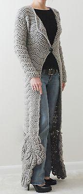Handmade Crochet Women's Long Gray Sweater Coat Chevron Pattern Size XS-S