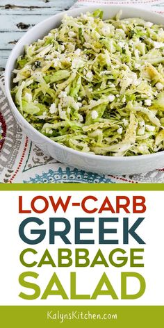 This delicious Low-Carb Greek Cabbage Salad will be tasty any time of year, and this salad has amazing flavors with sliced peperoncini, chopped fresh thyme, and plenty of creamy Feta Cheese, enjoy! [found on KalynsKitchen.com] #KalynsKitchen #LowCarbGreekCabbageSalad #GreekCabbageSalad #SpicyCabbageSalad