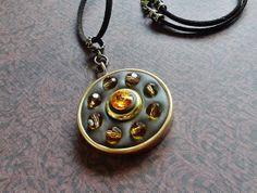 Sunflower Swarovski Crystal Pendant Necklace by ColorWheelArtistry, $29.00  www.colorwheelartistry.etsy.com