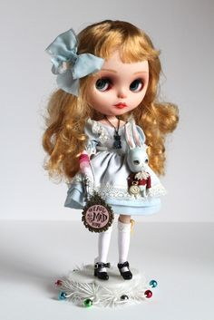 Image of Alice and the White Rabbit - custom OOAK Blythe doll by Mab Graves