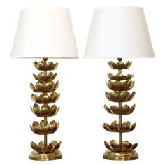 Pair Of Brass Lotus Leaf Table Lamps | From a unique collection of antique and modern table lamps at http://www.1stdibs.com/furniture/lighting/table-lamps/