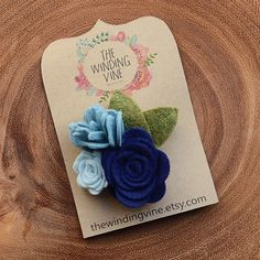 Blue Felt Flower Hair Clip, Flower Cluster Barrette, Felt Hair Accessory for baby, toddler, child, teen, or adult