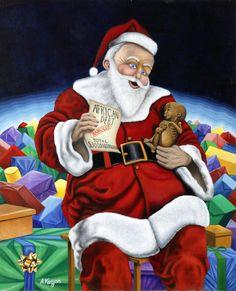 """""""Le don du Père Noel"""" Technique: peinture à l'huile (40 X 60cm)"""