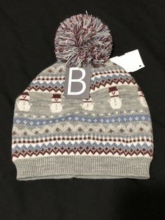 d551058cace US Women Warm Winter Knit Beanie Pom Hat With Snowmen Gray Black Friday  Sale  fashion