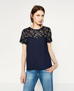 Image 1 of CONTRAST GUIPURE TOP from Zara