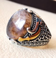 oval yamani aqeeq natural traditional knife multi color agate gemstone men ring sterling silver 925 jewelry all sizes خنجر , عقيق يماني