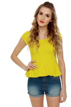 Cute Yellow Top - Peplum Top - Short Sleeve Top - $32.00