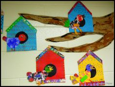birdhouse lesson elementary art - Have students instead CHOSE to make own bird house shapes and design using geometric shapes and look at references of different birds to draw and make