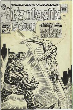 Original art for the cover of Fantastic Four #55. Jack Kirby and Joe Sinnott, lettered by Sam Rosen.
